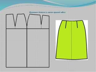Назовите детали и линии прямой юбки