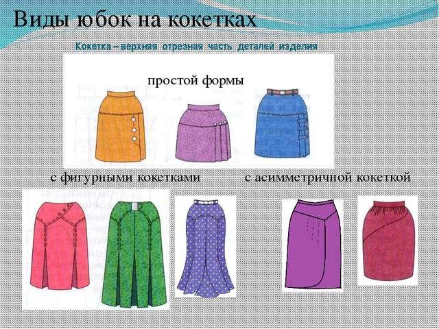Виды юбок на кокетках простой формы с асимметричной кокеткой с фигурными кок...