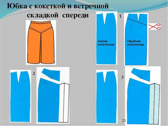 Юбка с кокеткой и встречной складкой спереди 2 3 Переднее полотнище Заднее по...