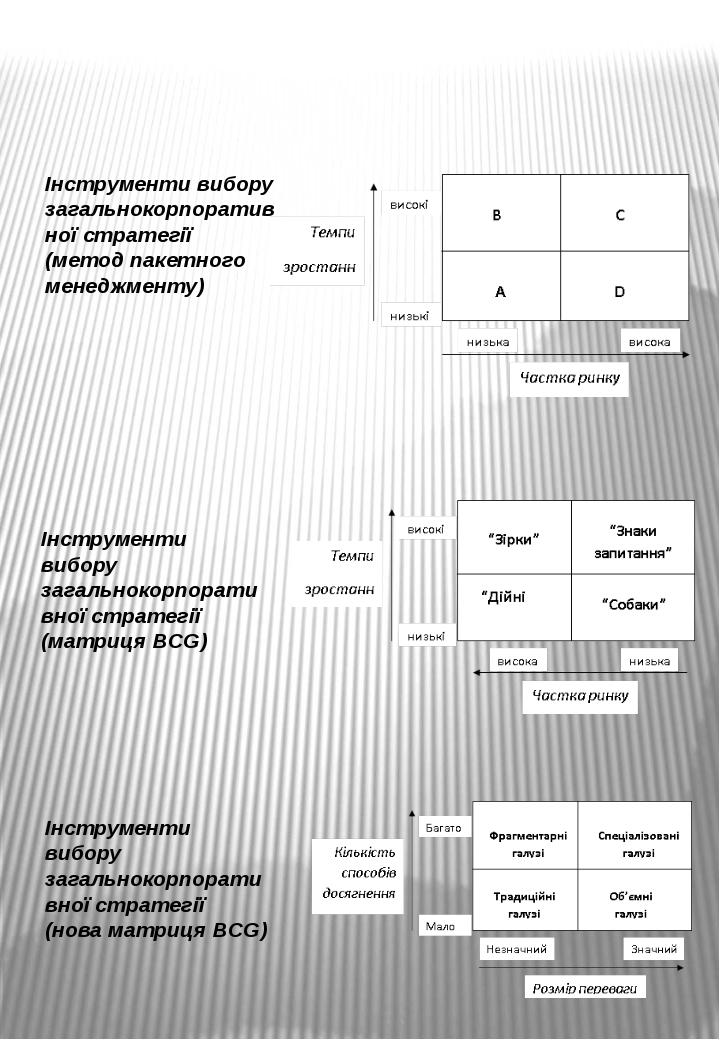 Інструменти вибору загальнокорпоративної стратегії (метод пакетного менеджмен...