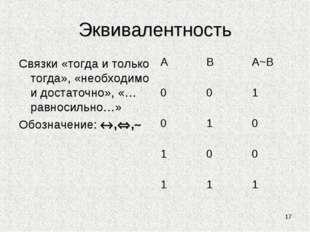 Эквивалентность Связки «тогда и только тогда», «необходимо и достаточно», «…р