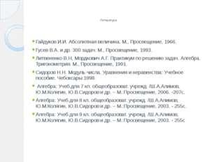 Литература Гайдуков И.И. Абсолютная величина. М., Просвещение, 1966. Гусев В.