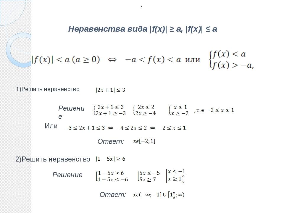 Неравенства вида |f(x)| ≥ a, |f(x)| ≤ a 1)Решить неравенство Решение . Ответ:...