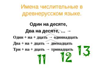 Имена числительные в древнерусском языке. Один на десяте, Два на десяте, … →