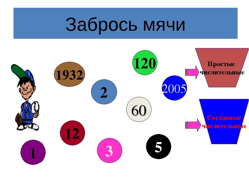 Забрось мячи Простые числительные Составные числительные 2 2005 5 60 3 12 1 1...