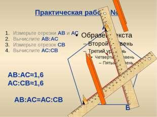 Практическая работа №1 Измерьте отрезки АВ и АС Вычислите АВ:АС Измерьте отре