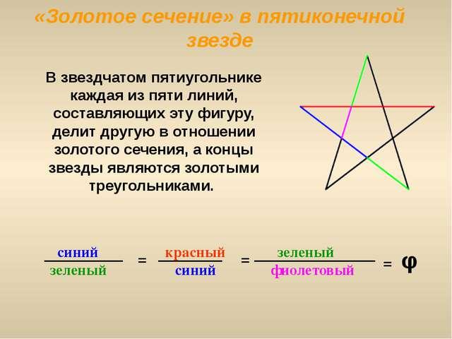«Золотое сечение» в пятиконечной звезде синий зеленый = красный синий фиолето...