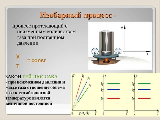 Изобарный процесс - процесс протекающий с неизменным количеством газа при пос...