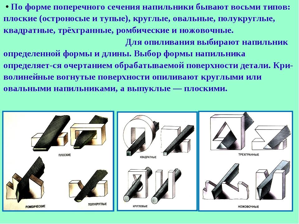 • По форме поперечного сечения напильники бывают восьми типов: плоские (остр...