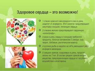 Здоровое сердце – это возможно! 1 стакан красного виноградного сока в день за
