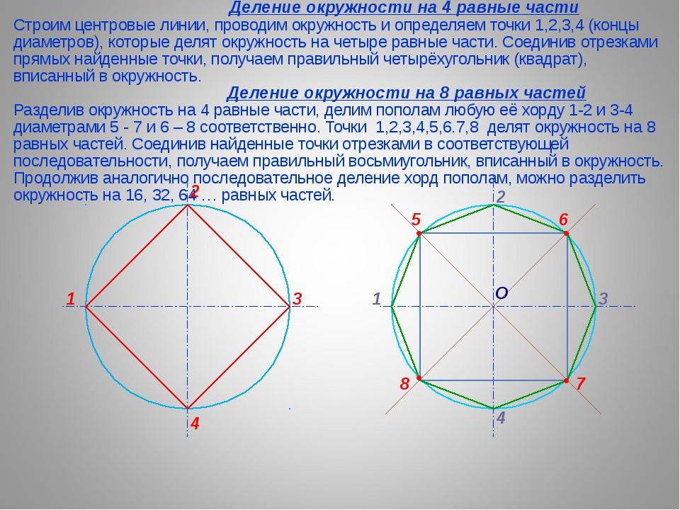 Деление окружности на 4 равные части Строим центровые линии, проводим окружн...