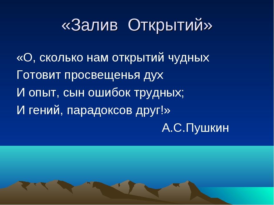«Залив Открытий» «О, сколько нам открытий чудных Готовит просвещенья дух И оп...