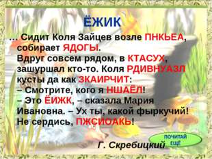 ЁЖИК … Сидит Коля Зайцев возле ПНКЬЕА, собирает ЯДОГЫ. Вдруг совсем рядом, в