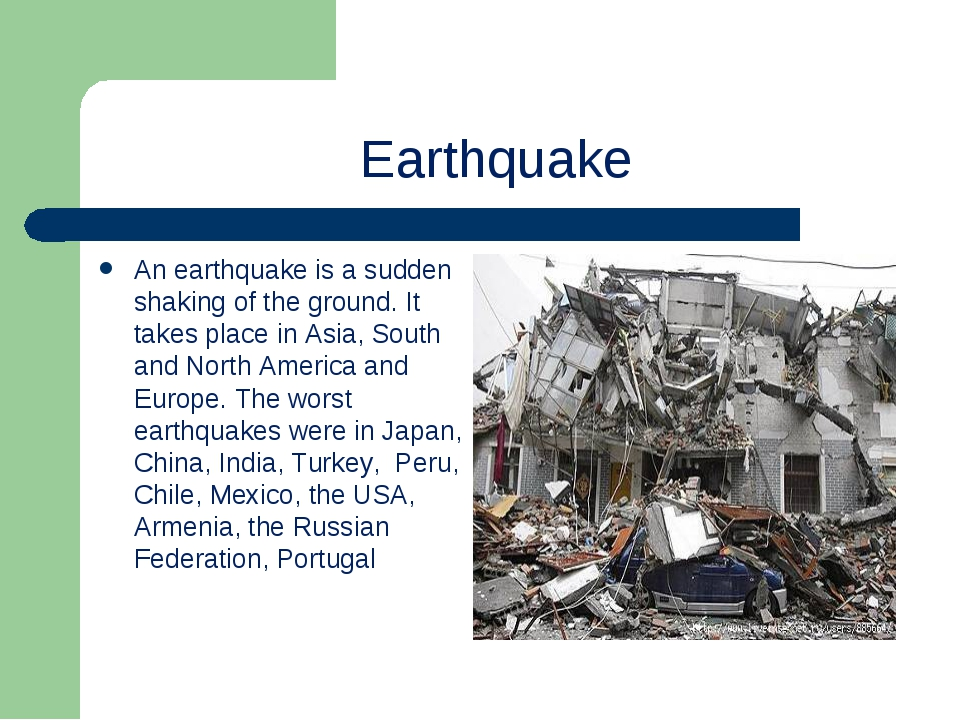 Earthquake An earthquake is a sudden shaking of the ground. It takes place in...