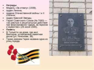 Награды Медаль «За отвагу» (1939), орден Ленина, ордена Отечественной войны I