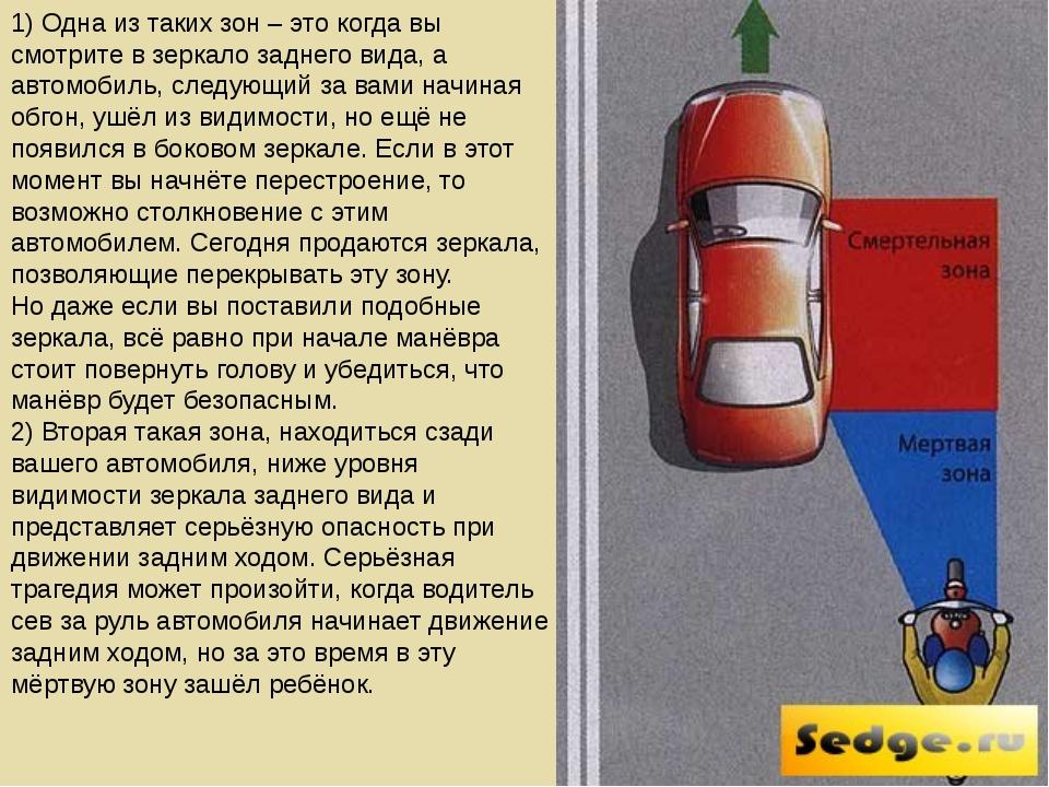 1) Одна из таких зон – это когда вы смотрите в зеркало заднего вида, а автомо...