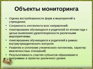 Объекты мониторинга Оценка востребованности форм и мероприятий в учреждении;