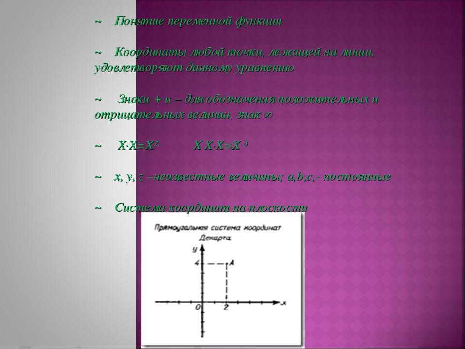 ~ Понятие переменной функции ~ Координаты любой точки, лежащей на линии, удов...