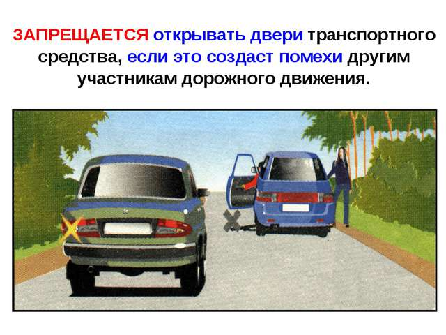 ЗАПРЕЩАЕТСЯ открывать двери транспортного средства, если это создаст помехи д...