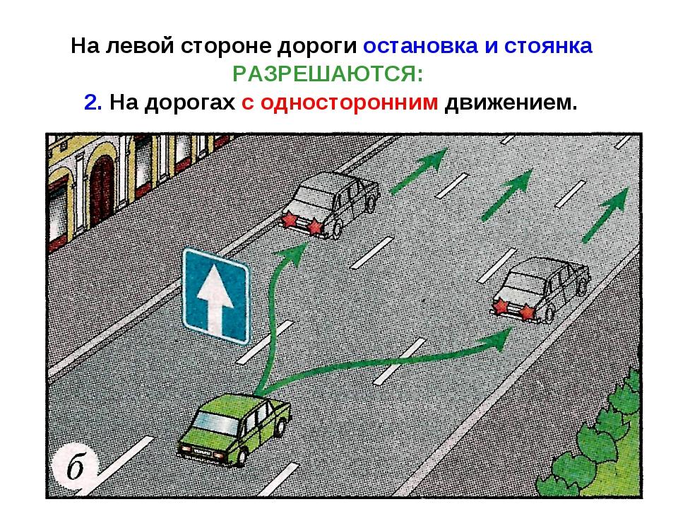 На левой стороне дороги остановка и стоянка РАЗРЕШАЮТСЯ: 2. На дорогах с одно...