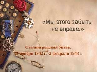 «Мы этого забыть не вправе.» Сталинградская битва. 19 ноября 1942 г. -2 февра