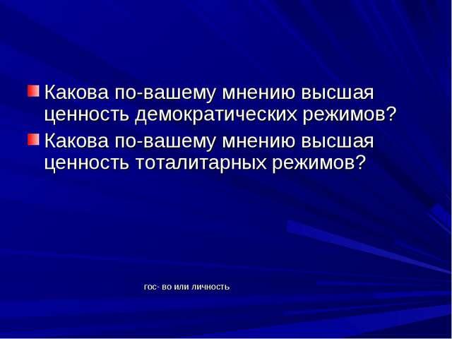 Какова по-вашему мнению высшая ценность демократических режимов? Какова по-ва...