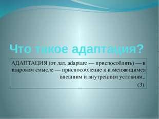 Что такое адаптация? АДАПТАЦИЯ (от лат. adaptare — приспособлять) — в широком