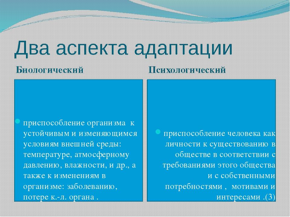 Два аспекта адаптации Биологический Психологический приспособление организма...