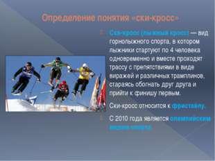 Определение понятия «ски-кросс» Ски-кросс (лыжный кросс)— вид горнолыжного с