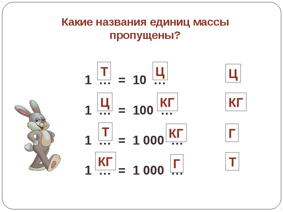 Какие названия единиц массы пропущены? 1 … = 10 … 1 … = 100 … 1 … = 1 000 … 1...
