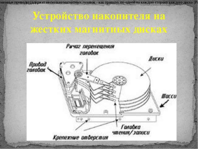 Современные приводы содержат несколько магнитных головок - как правило, по од...