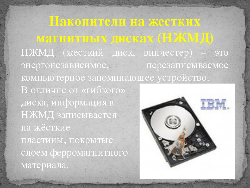 Накопители на жестких магнитных дисках (НЖМД) НЖМД (жесткий диск, винчестер)...