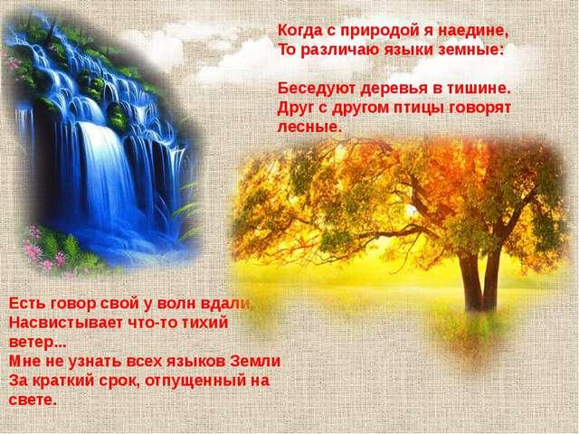 Когда с природой я наедине, То различаю языки земные: Беседуют деревья в тиши...