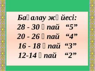 """Бағалау жүйесі: 28 - 30 ұпай """"5"""" 20 - 26 ұпай """"4"""" 16 - 18 ұпай """"3"""" 12-14 ұпай"""