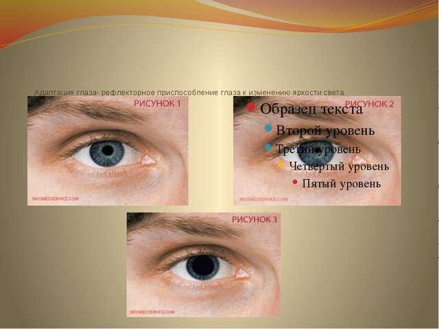 Адаптация глаза- рефлекторное приспособление глаза к изменению яркости света.