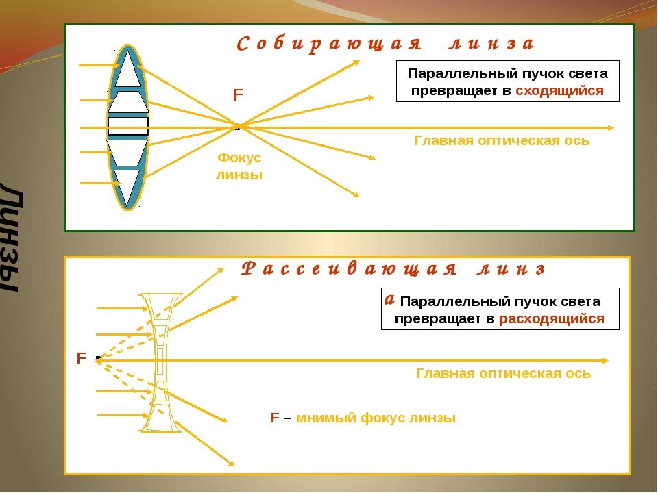 Линзы F Фокус линзы Главная оптическая ось С о б и р а ю щ а я л и н з а F Р...