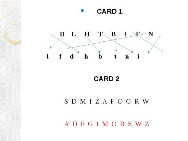 CARD 1 D L H T B I F N l f d h b t n i CARD 2 S D M I Z A F O G R W A D F G...