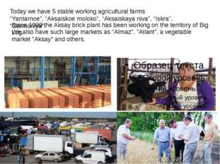 "Today we have 5 stable working agricultural farms ""Yantarnoe"", ""Aksaiskoe mo"