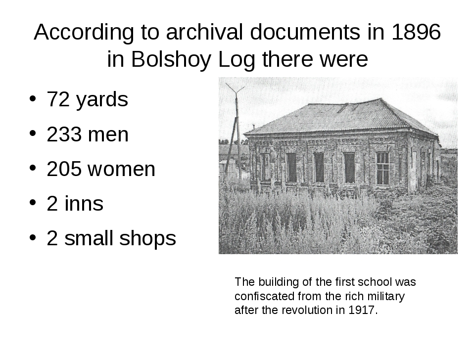 According to archival documents in 1896 in Bolshoy Log there were 72 yards 23...
