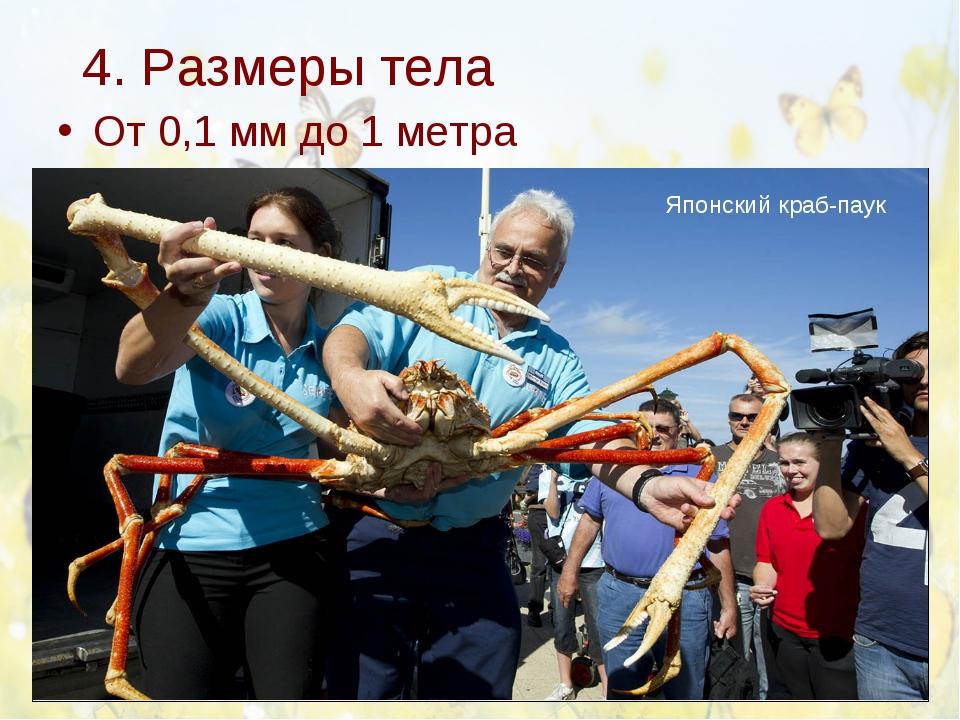 4. Размеры тела От 0,1 мм до 1 метра