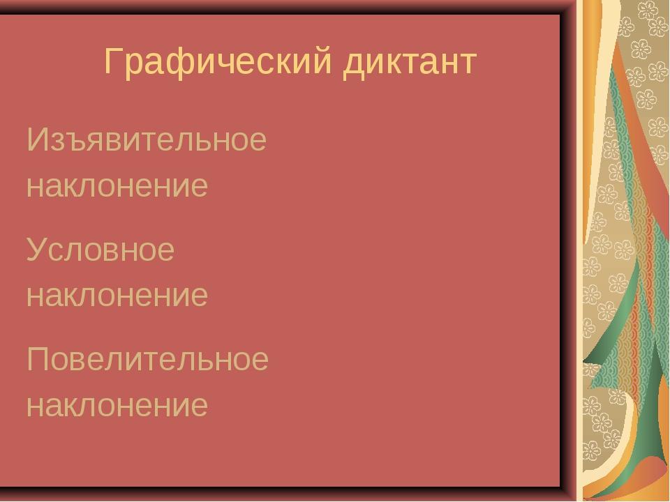 Графический диктант Изъявительное наклонение Условное наклонение Повелитель...