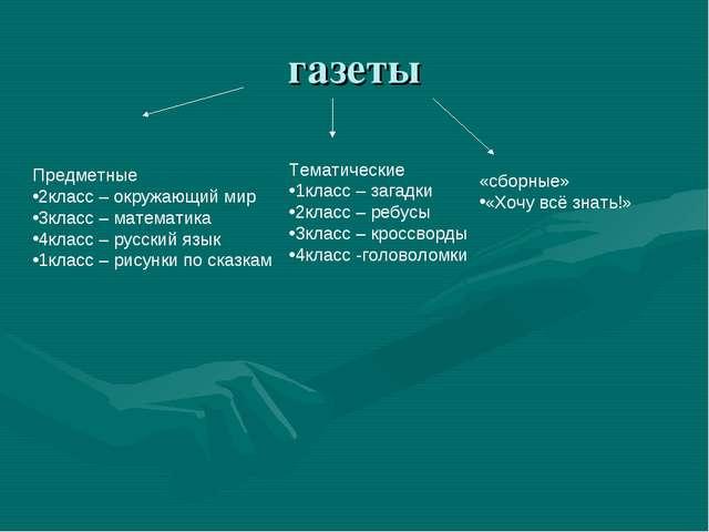 газеты Предметные 2класс – окружающий мир 3класс – математика 4класс – русски...