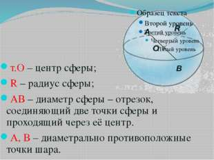 т.О – центр сферы; R – радиус сферы; АВ – диаметр сферы – отрезок, соединяющи