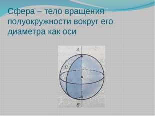 Сфера – тело вращения полуокружности вокруг его диаметра как оси http://lapin