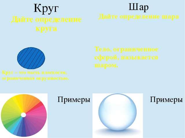 Круг Дайте определение круга Шар Дайте определение шара Круг – это часть пло...