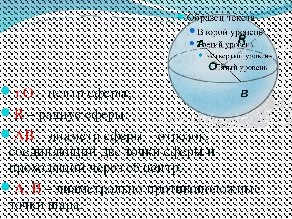 т.О – центр сферы; R – радиус сферы; АВ – диаметр сферы – отрезок, соединяющи...