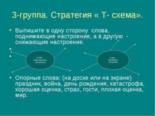 3-группа. Стратегия « Т- схема». Выпишите в одну сторону слова, поднимающие н