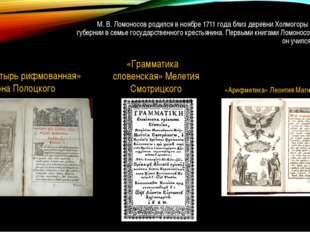 М. В. Ломоносов родился в ноябре 1711 года близ деревни Холмогоры Архангельск
