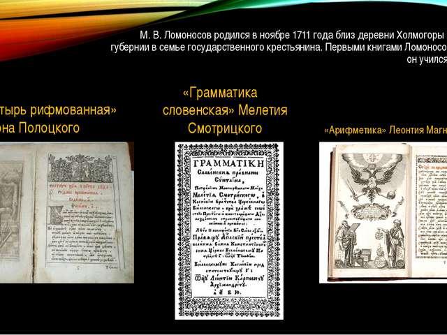 М. В. Ломоносов родился в ноябре 1711 года близ деревни Холмогоры Архангельск...