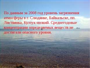 По данным за 2008 год уровень загрязнения атмосферы в г. Слюдянке, Байкальске